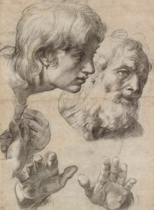The heads and hands of two apostles
